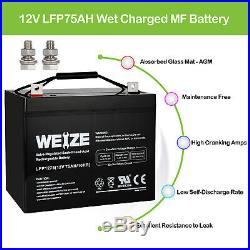 12V 75AH SLA Deep Cycle AGM Battery for Scooter Wheelchair Golf Cart Electric DC