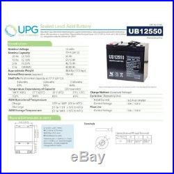 2 PACK UPG UB12550 12V 55AH Insert Terminal Battery for Electric WheelChairs