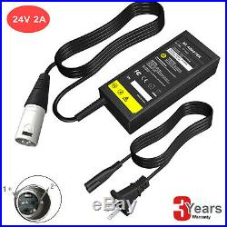 24V 2A XLR Mobility Electric Scooter wheelchair Gel/Lead Battery Charger