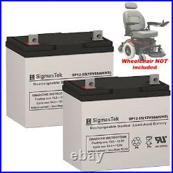 2pc Quickie Aspire Full Power Wheelchair Replacement 12V 55Ah SLA Batteries