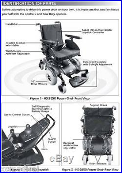 CTM HS-2850 Power Wheelchair with Rehab Seat Mid Wheel Drive Chair withBatteries