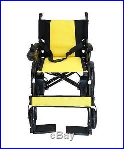 Foldable Lightweight Heavy Duty Lithium Battery Electric Power Wheelchair YELLOW