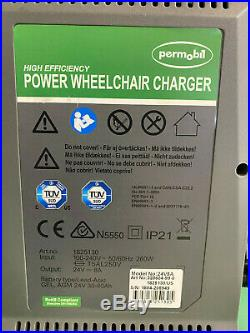Lot of 3 Permobil Power Wheelchair Battery Chargers 24V 8 Amp Model 24V8A #E046