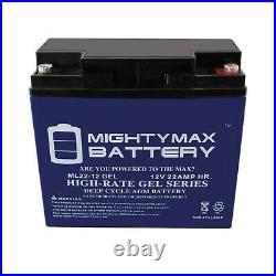 Mighty Max 12V 22AH GEL Battery for Dalton SC-S245 Power Chair 4 Pack
