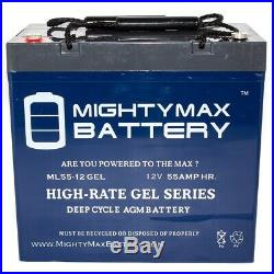 Mighty Max 12V 55AH GEL Battery for Shoprider 6Runner 14 Power Chair Scooter
