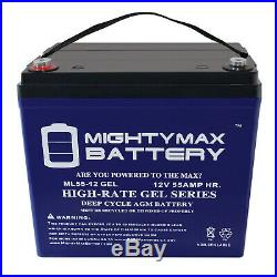 Mighty Max 12V 55AH GEL Battery replacement for Quantum QG edge 2.0 Power Chair