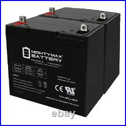 Mighty Max 12V 55Ah Battery for Quantum QG edge 2.0 Power Chair 2 Pack