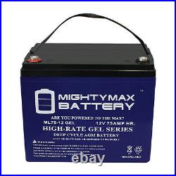 Mighty Max 12V 75AH GEL Battery Replacement for Electric Rover Pack Wheelchair