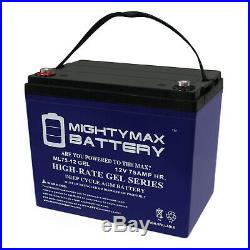 Mighty Max 12V 75AH GEL Battery Replaces Sunrise Quickie QM-710 Power Wheelchair
