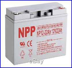 NPP 12V 22Ah With Button Terminal, SLA Battery for Cobalt X16 Power Wheelchair