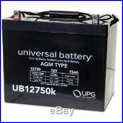 UPG UB12750 12V 75AH Replacement Battery 4 Permobil M300 PS JR Power Wheelchair