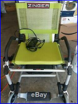 Zinger Green Folding Lightweight Electric Wheel Chair with Battery